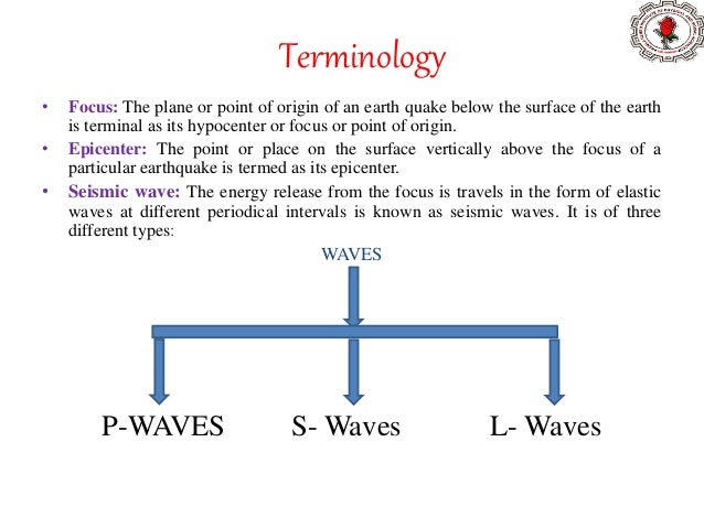 Terminology • Focus: The plane or point of origin of an earth quake below the surface of the earth is terminal as its hypo...