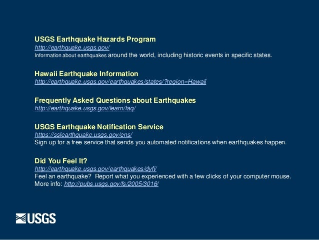 USGS Earthquakes in hawaii