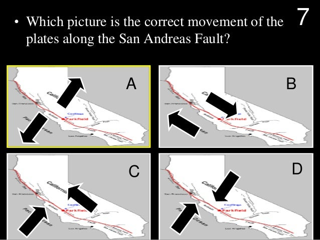 • Which picture is the correct movement of the plates along the San Andreas Fault? A B C D 7