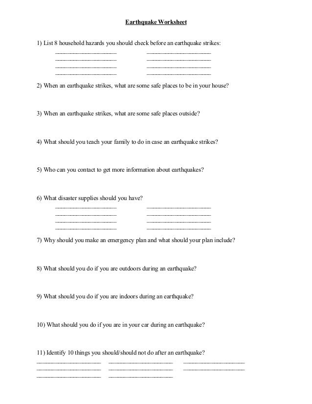 Earthquake worksheet – Earthquakes Worksheet
