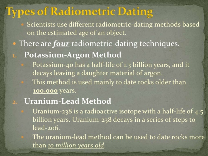 Chronometric absolute dating