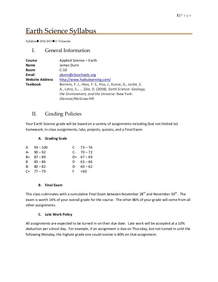 1|P a g eEarth Science SyllabusSyllabus 2012-20131st Trimester     I.       General InformationCourse                  A...