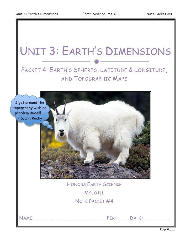 Unit 3: Earth's Dimensions        Earth Science- Ms. Gill   Note Packet #4   UNIT 3: EARTH'S DIMENSIONS                   ...