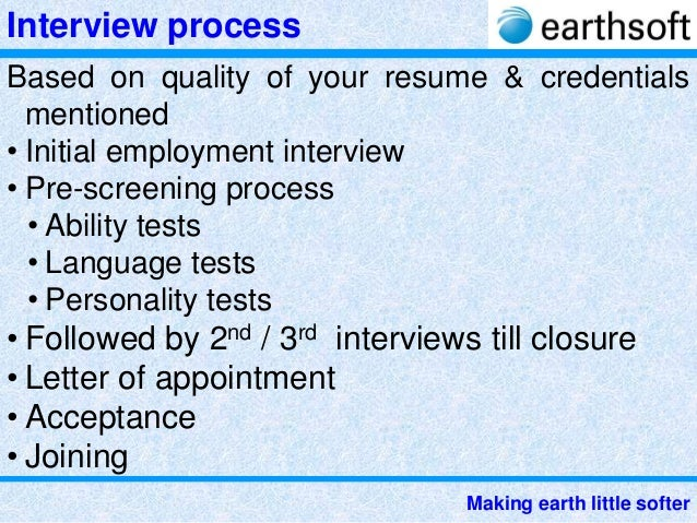Earthsoft to face interview and succeed in getting a dream job