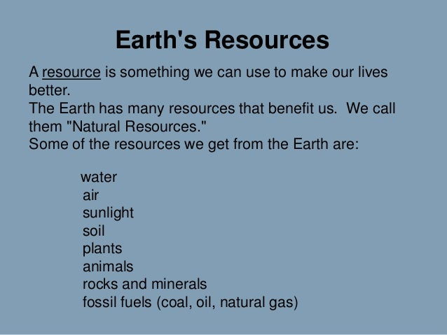 Earths resources presentation