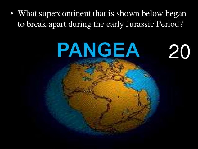 • What supercontinent that is shown below began to break apart during the early Jurassic Period? 20