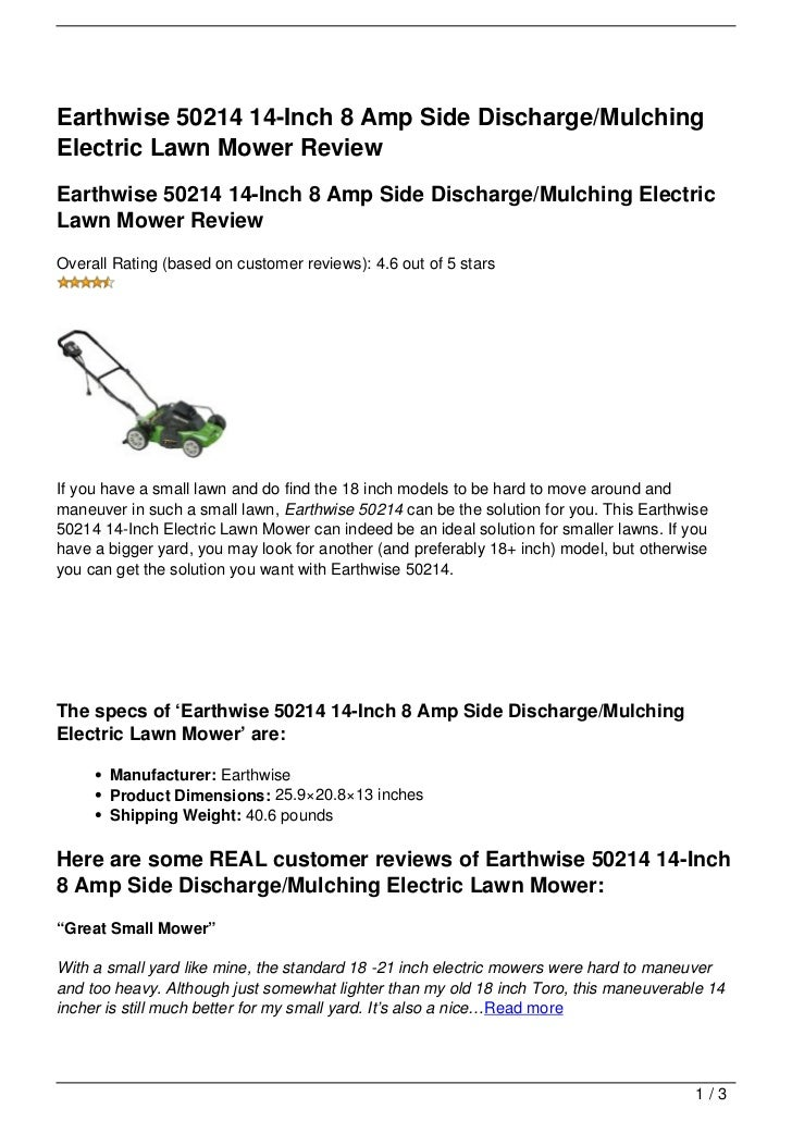 Earthwise 50214 14-Inch 8 Amp Side Discharge/MulchingElectric Lawn Mower ReviewEarthwise 50214 14-Inch 8 Amp Side Discharg...