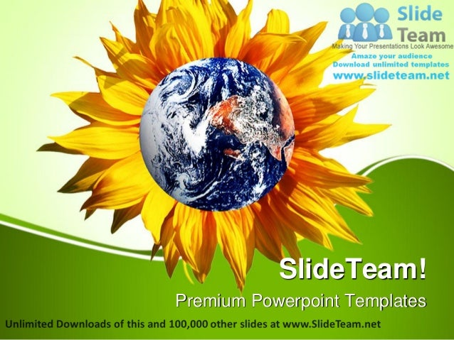 Earth With Flower Nature Power Point Templates Themes And