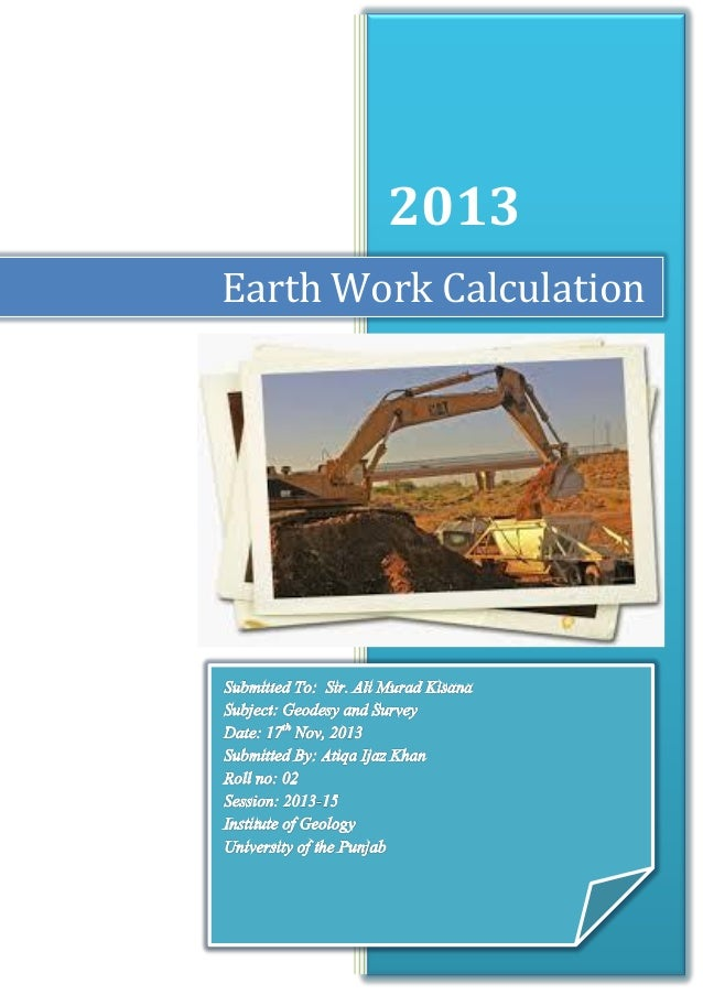 2013 Earth Work Calculation