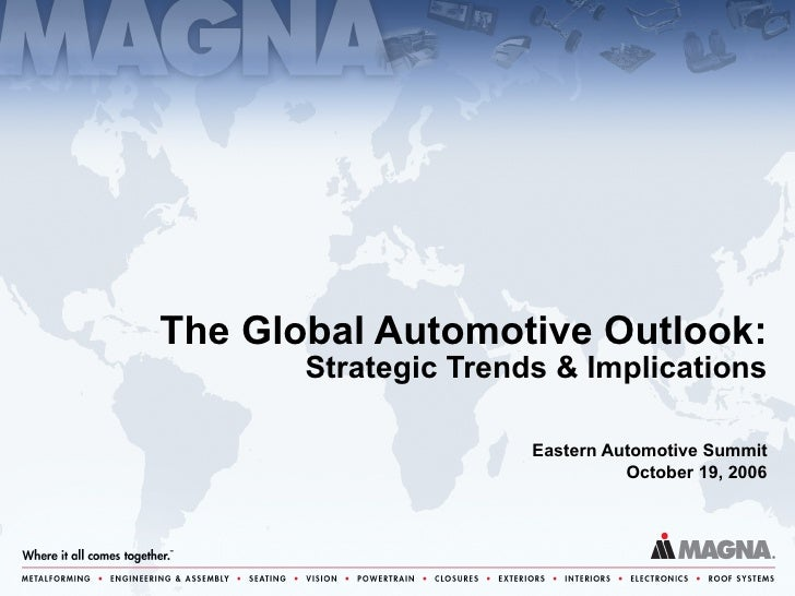 Eastern Automotive Summit October 19, 2006 The Global Automotive Outlook: Strategic Trends & Implications