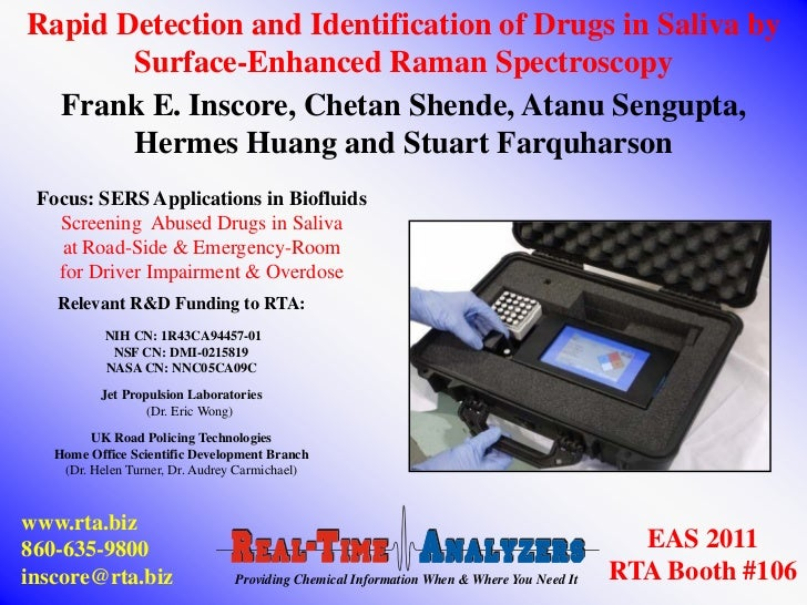 Rapid Detection and Identification of Drugs in Saliva by       Surface-Enhanced Raman Spectroscopy  Frank E. Inscore, Chet...