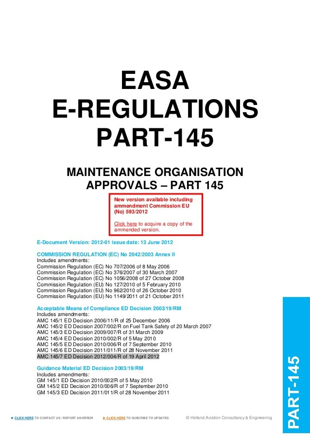 easa e regulations part145