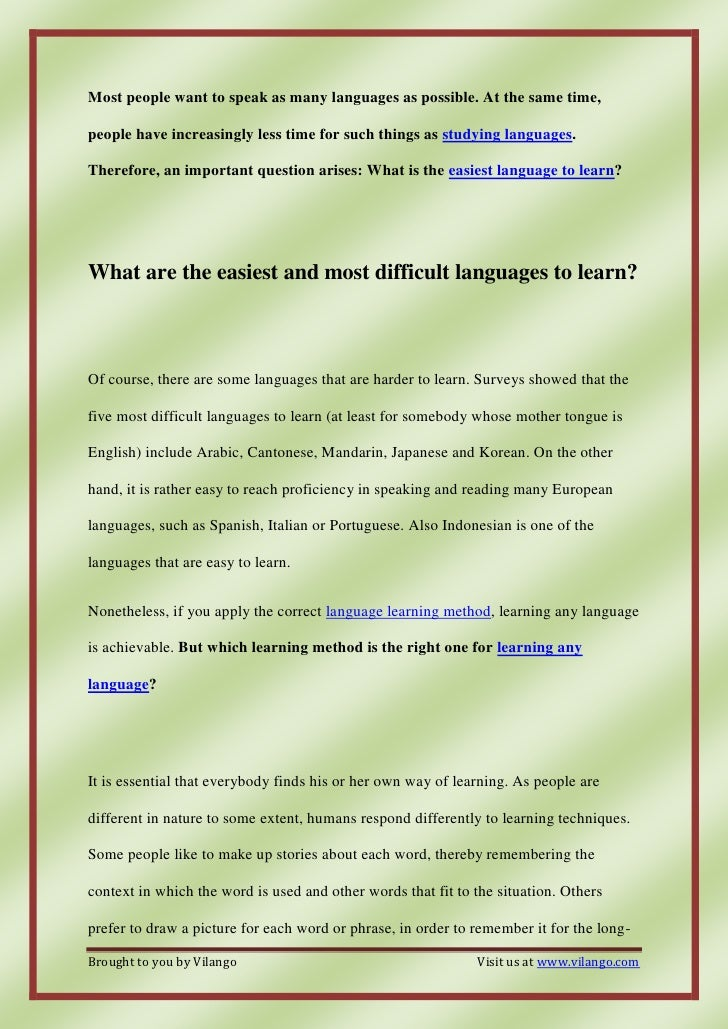 Which language is the easiest/hardest to learn? | Yahoo ...