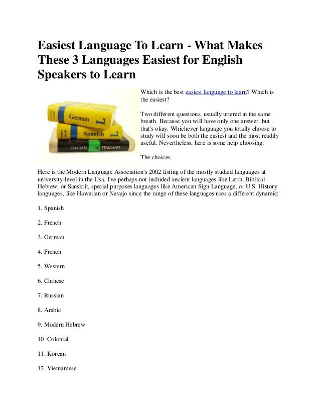 Easiest Language To Learn - What Makes These 3 Languages Easiest for English Speakers to Learn Which is the best easiest l...
