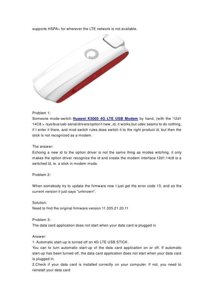 Huawei Error Code 13