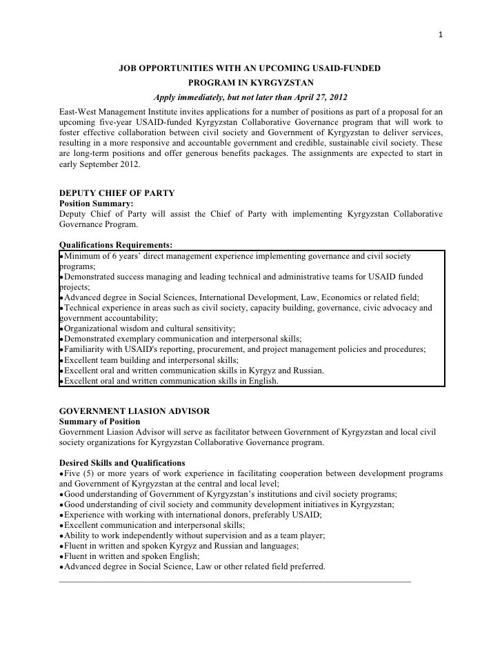 1                JOB OPPORTUNITIES WITH AN UPCOMING USAID-FUNDED                                   PROGRAM IN KYRGYZSTAN  ...