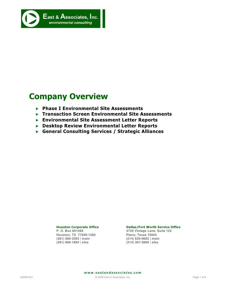 Company Overview                Phase I Environmental Site Assessments                Transaction Screen Environmental S...