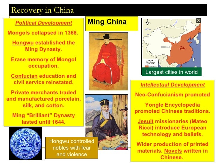 Recovery in China Ming China Political Development Mongols collapsed in 1368.  Hongwu  established the Ming Dynasty. Erase...
