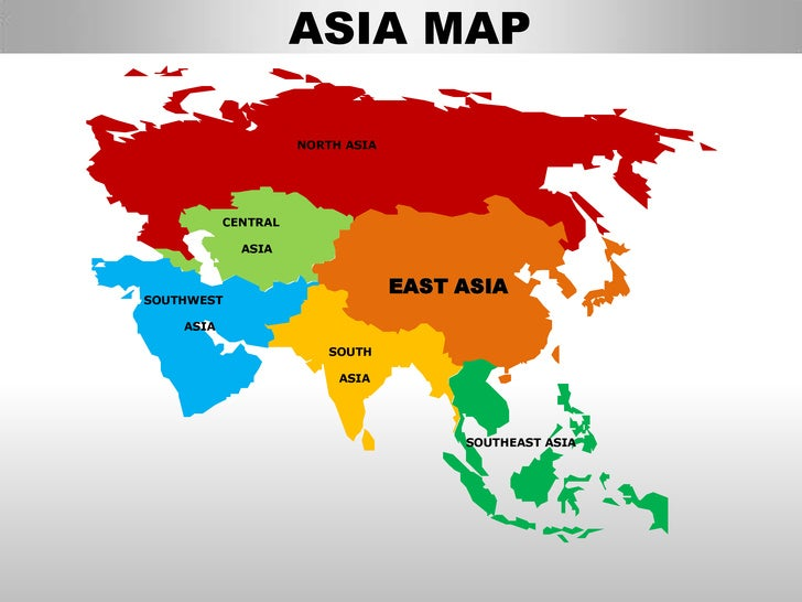 East asia editable continent map with countries