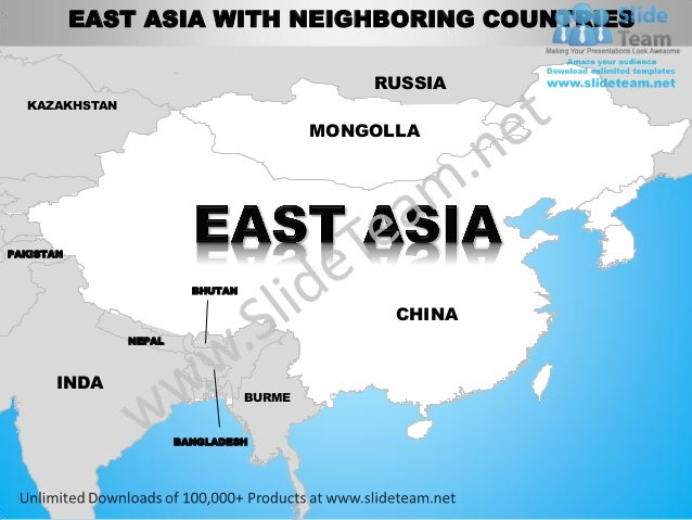 East asia powerpoint editable continent map with countries templates …
