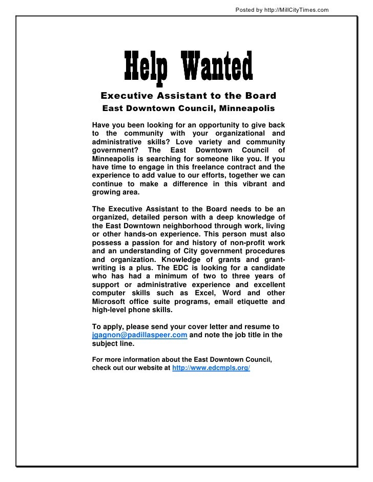 Posted by http://MillCityTimes.com         Help Wanted  Executive Assistant to the Board  East Downtown Council, Minneapol...