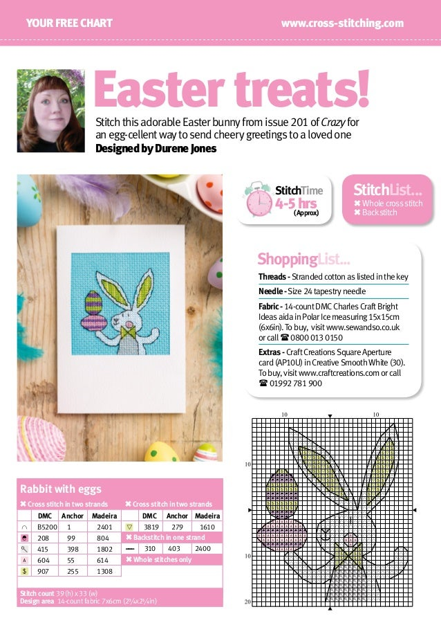 www.cross-stitching.comYOUR FREE CHART DesignedbyDureneJones Easter treats! StitchTime 4-5hrs (Approx) StitchthisadorableE...