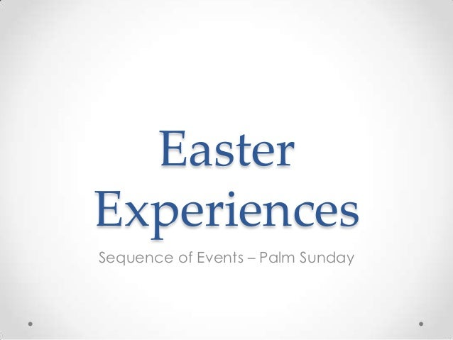 EasterExperiencesSequence of Events – Palm Sunday