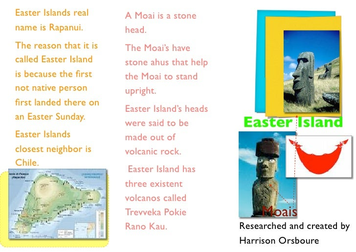 Easter Islands real     A Moai is a stone name is Rapanui.        head. The reason that it is   The Moai's have called Eas...