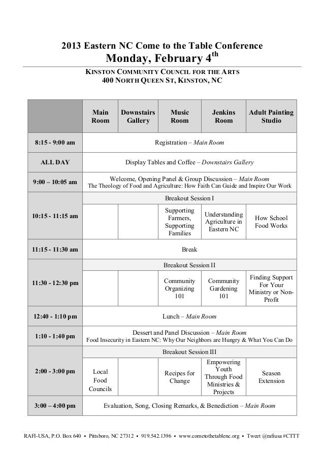 2013 Eastern NC Come to the Table Conference                                 Monday, February 4th                         ...