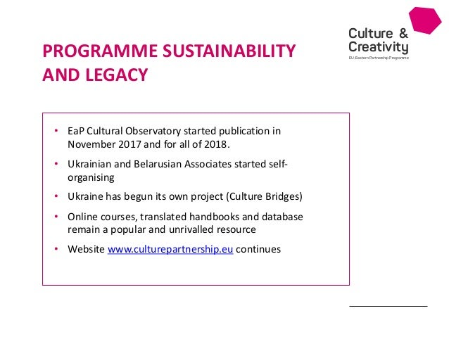 Culture & Creativity EU-Eastern Partnership Programme • EaP Cultural Observatory started publication in November 2017 and ...