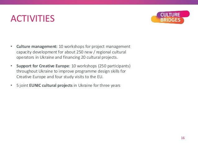 ACTIVITIES • Culture management: 10 workshops for project management capacity development for about 250 new / regional cul...