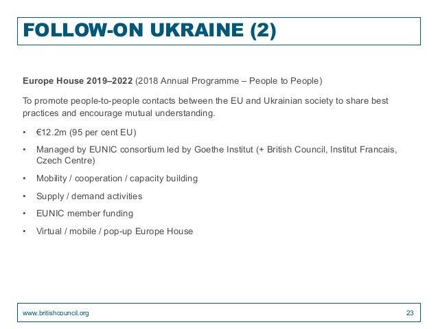 FOLLOW-ON UKRAINE (2) Europe House 2019–2022 (2018 Annual Programme – People to People) To promote people-to-people contac...