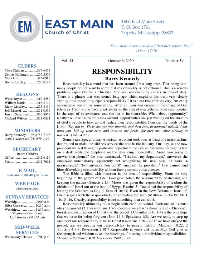 4 Vol. 45 October 6, 2020 Number 39 RESPONSIBILITY Barry Kennedy Responsibility is a word that has been around for a long ...