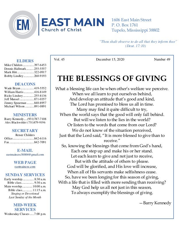 4 Vol. 45 December 15, 2020 Number 49 THE BLESSINGS OF GIVING What a blessing life can be when other's welfare we perceive...