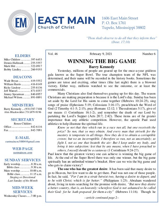 4 Vol. 46 February 9, 2021 Number 6 WINNING THE BIG GAME Barry Kennedy Yesterday, millions of people are geared up for the...