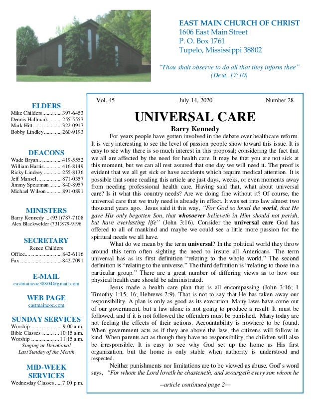 4 Vol. 45 July 14, 2020 Number 28 UNIVERSAL CARE Barry Kennedy For years people have gotten involved in the debate over he...