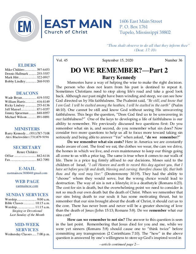 4 Vol. 45 September 15, 2020 Number 36 DO WE REMEMBER?—Part 2 Barry Kennedy Memories have a way of helping the wise to mak...