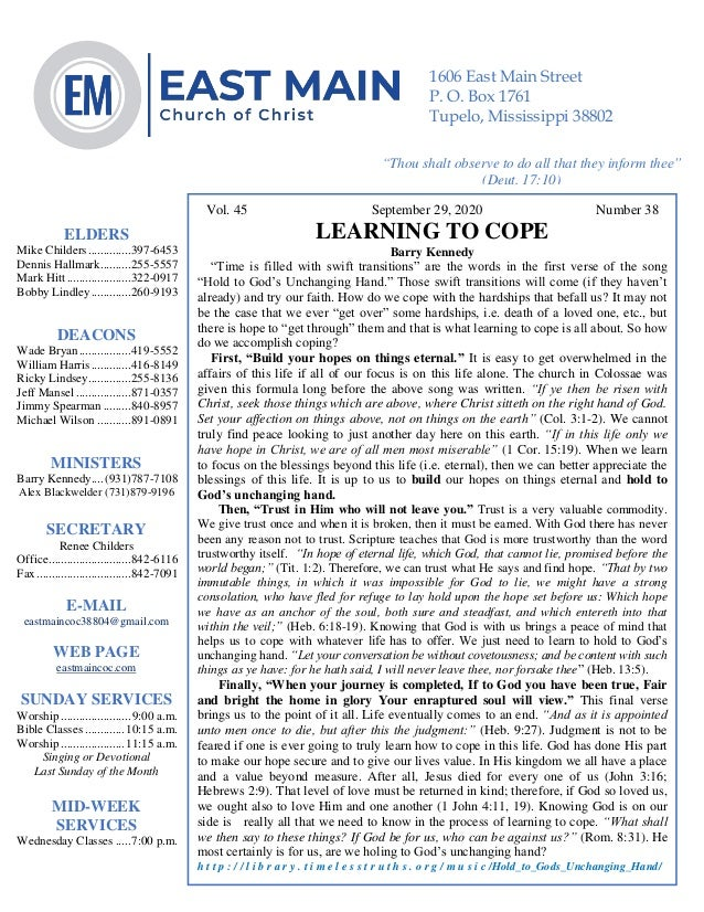 """4 Vol. 45 September 29, 2020 Number 38 LEARNING TO COPE Barry Kennedy """"Time is filled with swift transitions"""" are the word..."""