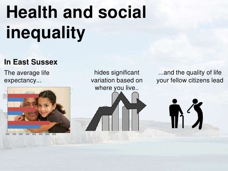 Health and socialinequalityIn East SussexThe average life    hides significant    ...and the quality of lifeexpectancy... ...