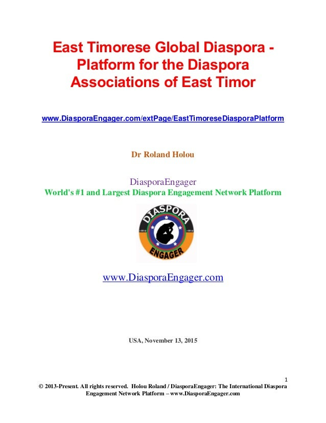 1 © 2013-Present. All rights reserved. Holou Roland / DiasporaEngager: The International Diaspora Engagement Network Platf...