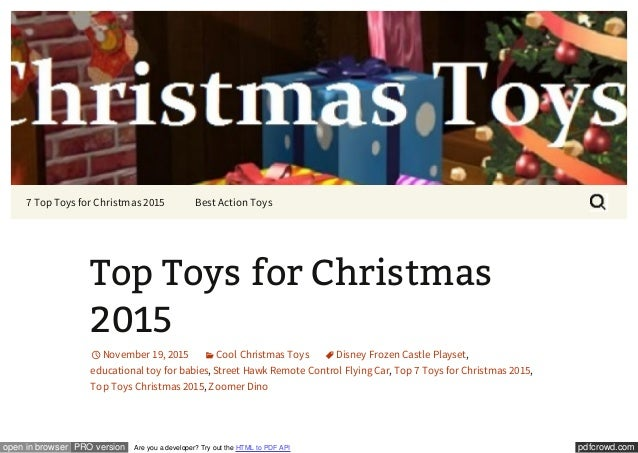 2015 best selling christmas toys pdfcrowdcomopen in browser pro version are you a developer - Top Toys 2015 Christmas