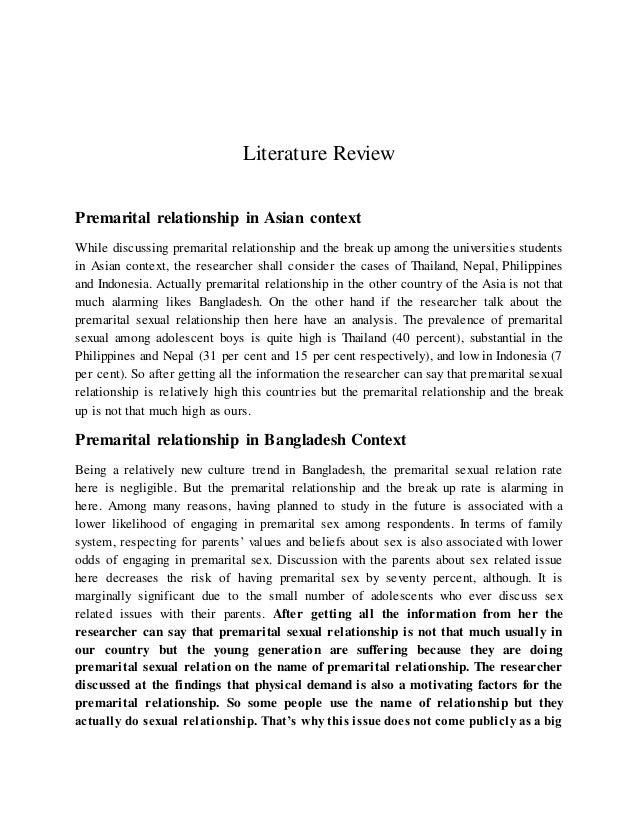 Related literature of premarital sex