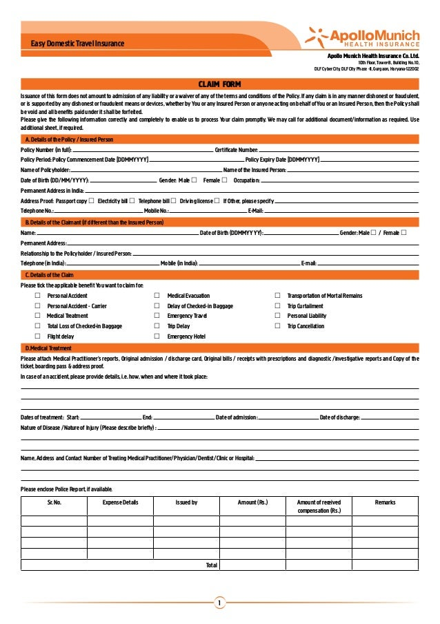 Apollo Munich Easy Domestic Travel Insurance Claim Form