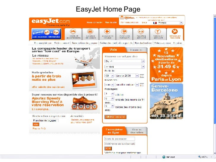 EasyJet Home Page