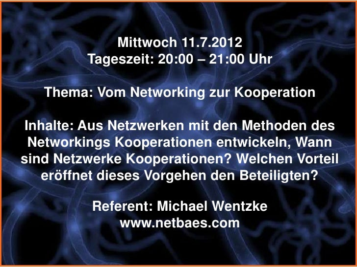 Vom Networking zur Kooperation Slide 3