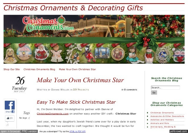Christmas Ornaments & Decorating Gifts  Shop Our Site ✪ Christmas Ornaments Blog ✪ Make Your Own Christmas Star  26  Tuesd...