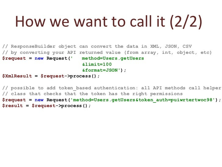 // ResponseBuilder object can convert the data in XML, JSON, CSV // by converting your API returned value (from array, int...