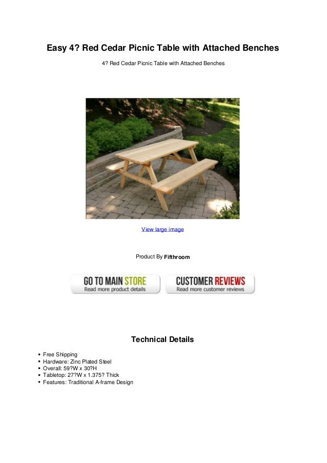 Surprising Easy 4 Red Cedar Picnic Table With Attached Benches Creativecarmelina Interior Chair Design Creativecarmelinacom