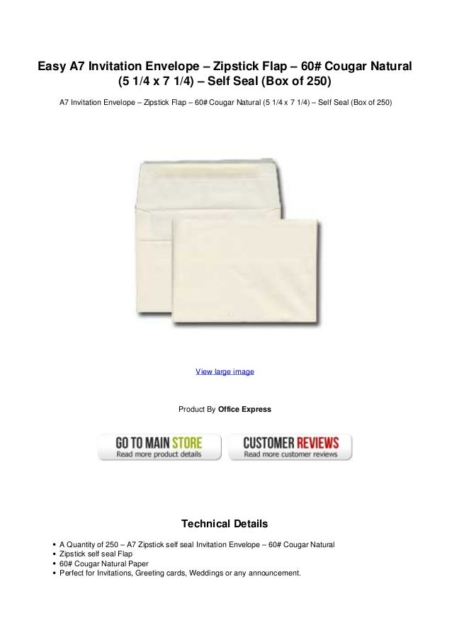 easy a7 invitation envelope zipstick flap 60 cougar natural 5 14