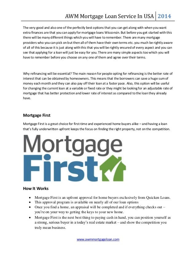AWM Mortgage Loan Service In USA 2014 www.awmmortgageloan.com The very good and also one of the perfectly best options tha...